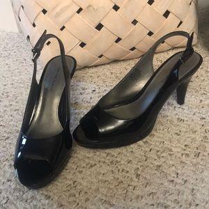 Bandolino patent peep toe sandals. Size 9
